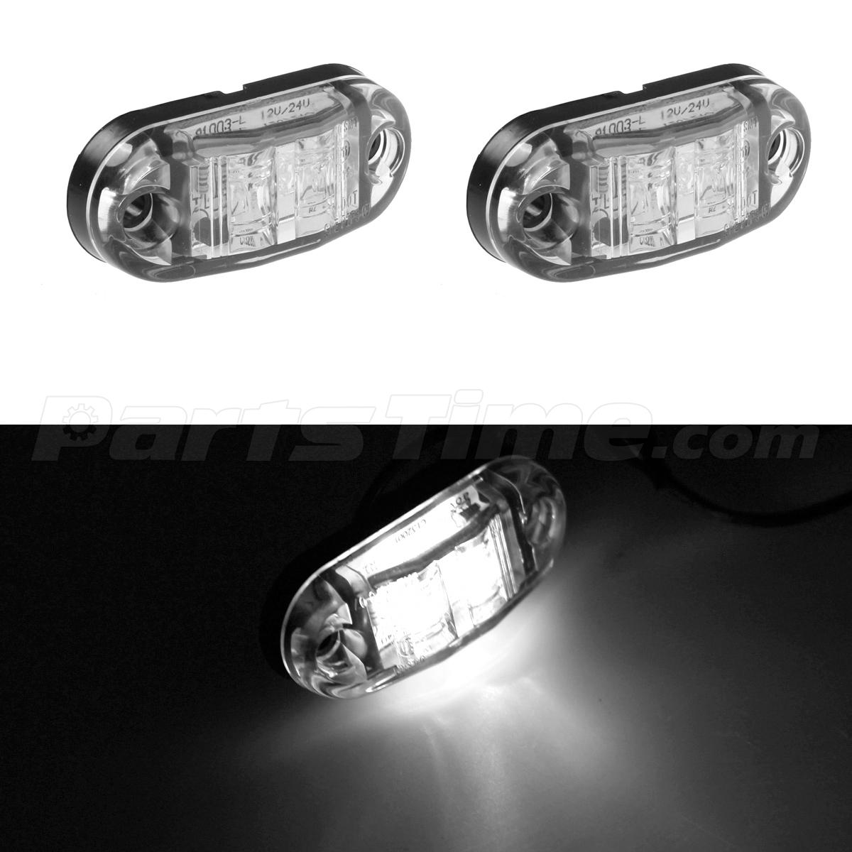 2X Trailer Truck Surface Mount LED Oval 25 White Side