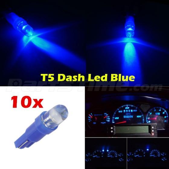 60x T5 74 Led Dashboard Speedometer Gauge Indicator Light: 10x Blue LED Dashboard Instrument Light Bulbs T5 Wedge 37