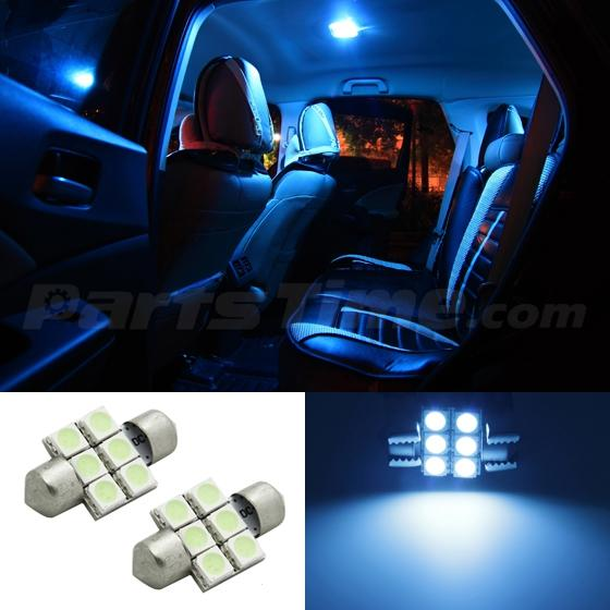 2x Ice Blue 6smd Led Festoon Map Dome Interior Lights