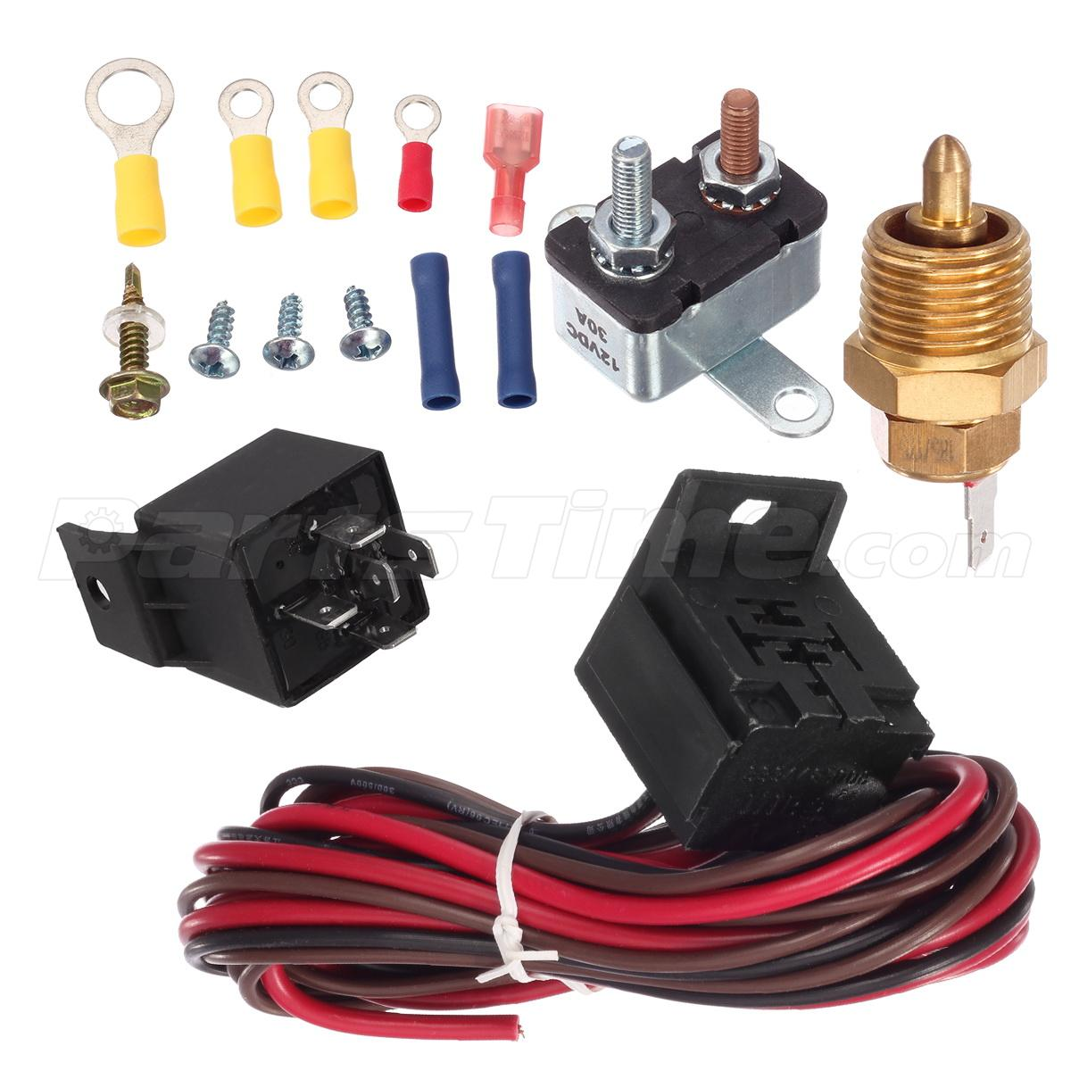 Electric radiator engine fan thermostat temperature switch relay kit 200 degree ebay - Four 200 degres thermostat ...