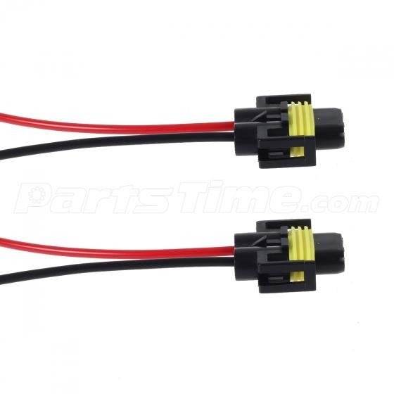 (2) h11 h8 h9 wiring harness female socket wire connector plug extension pigtail 2 wire harness connector pcb #6