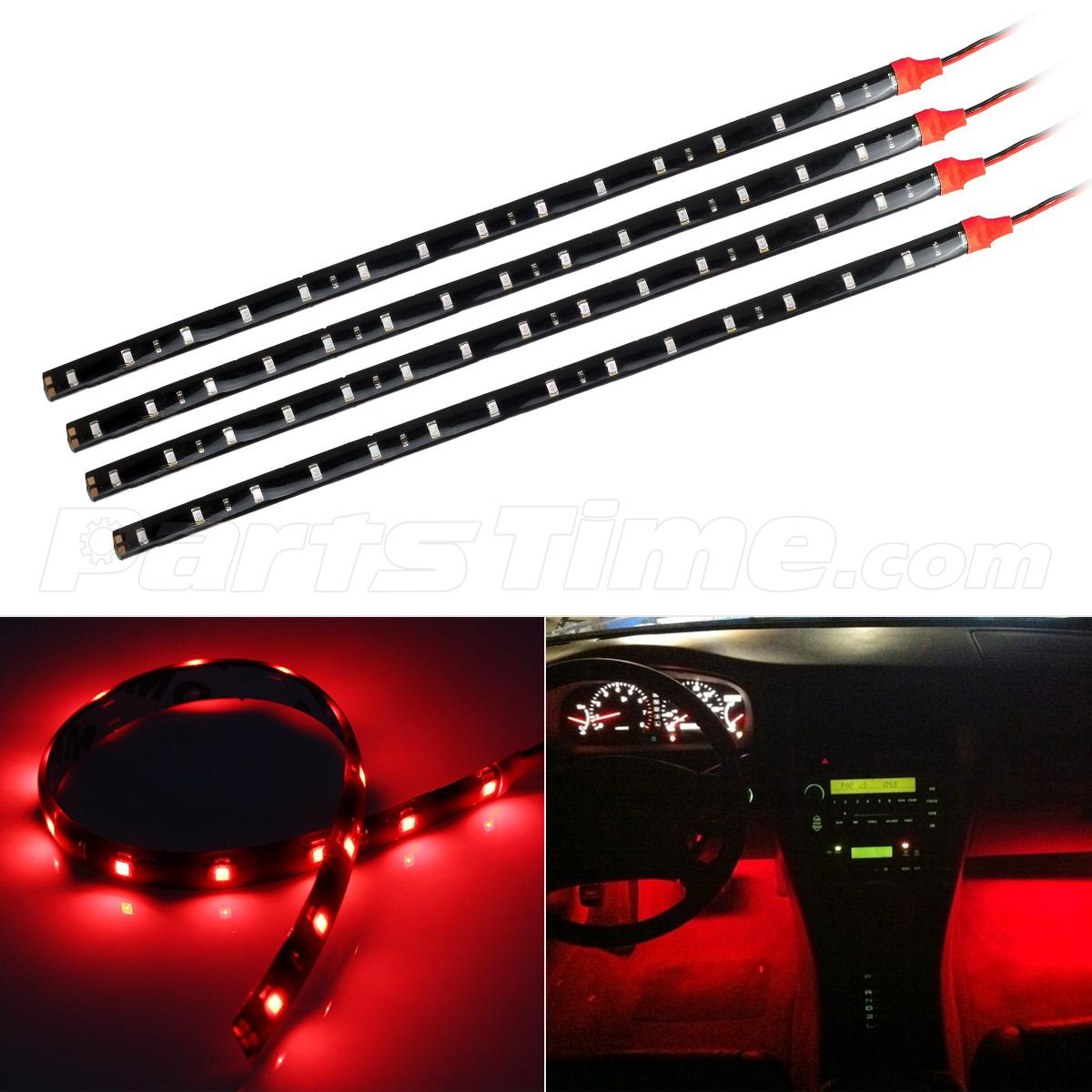 4pcs Red Led Strip Lights Interior Glow Neon Lighting Car