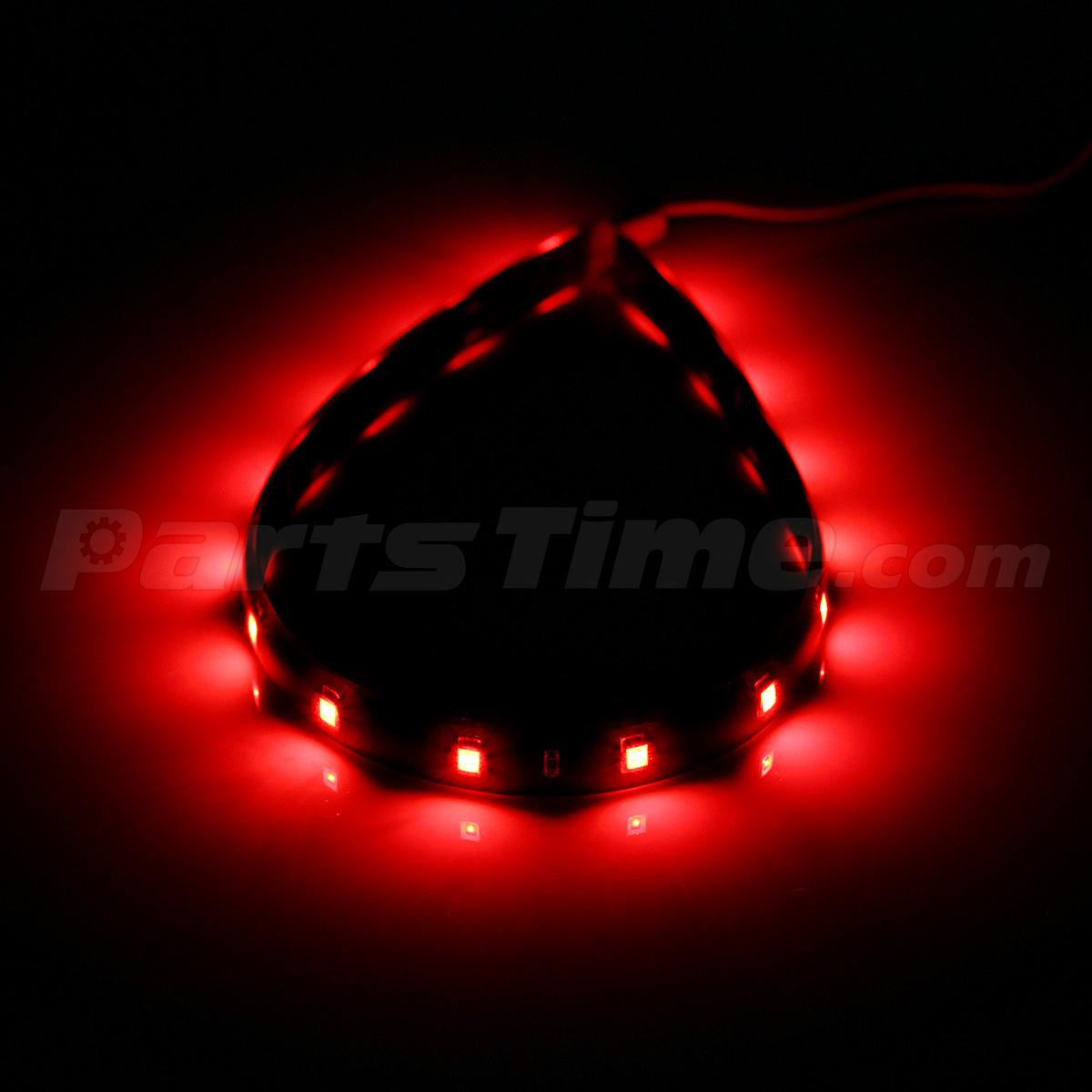 4pcs Red Led Strip Lights Interior Glow Neon Lighting Car Truck Suv 30cm 15smd Ebay