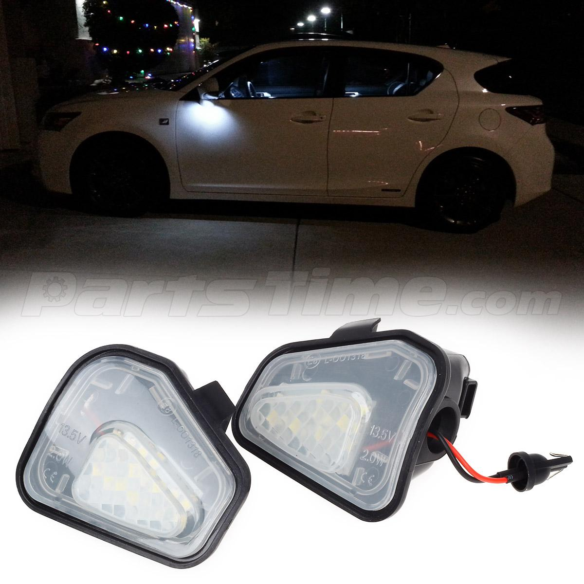 2pcs White Led Bulb Under Side Mirror Puddle Lights For Vw