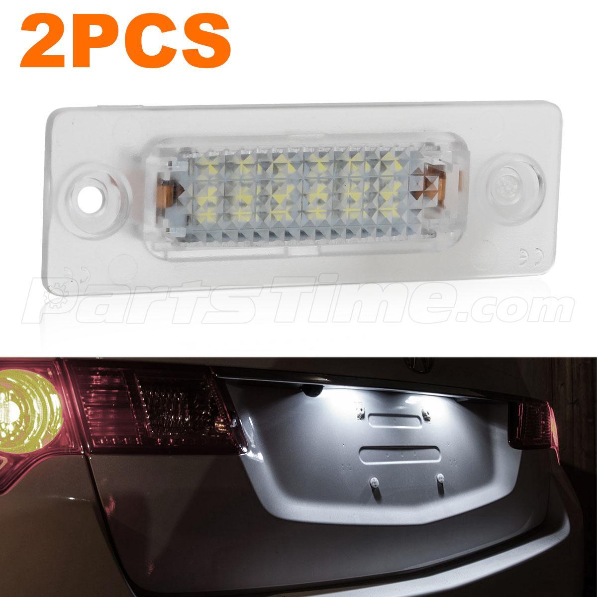 2pcs 6000k White License Plate Lamp Rear Led Lights Set