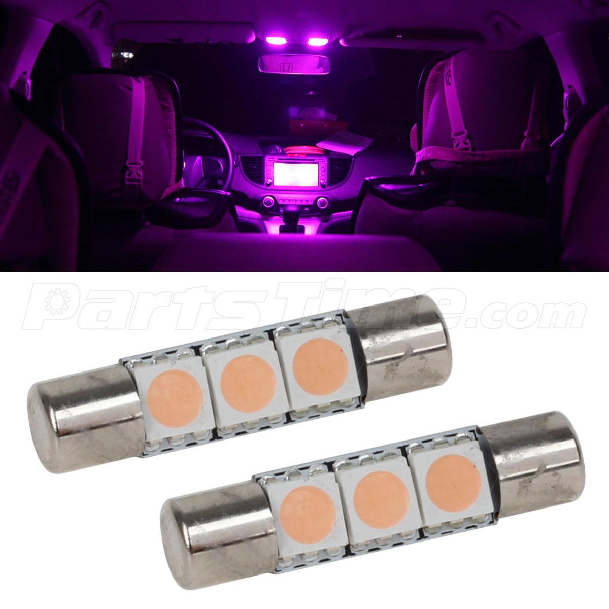 2pcs pink purple 3smd led bulb for car vanity mirror lights sun visor lamp. Black Bedroom Furniture Sets. Home Design Ideas
