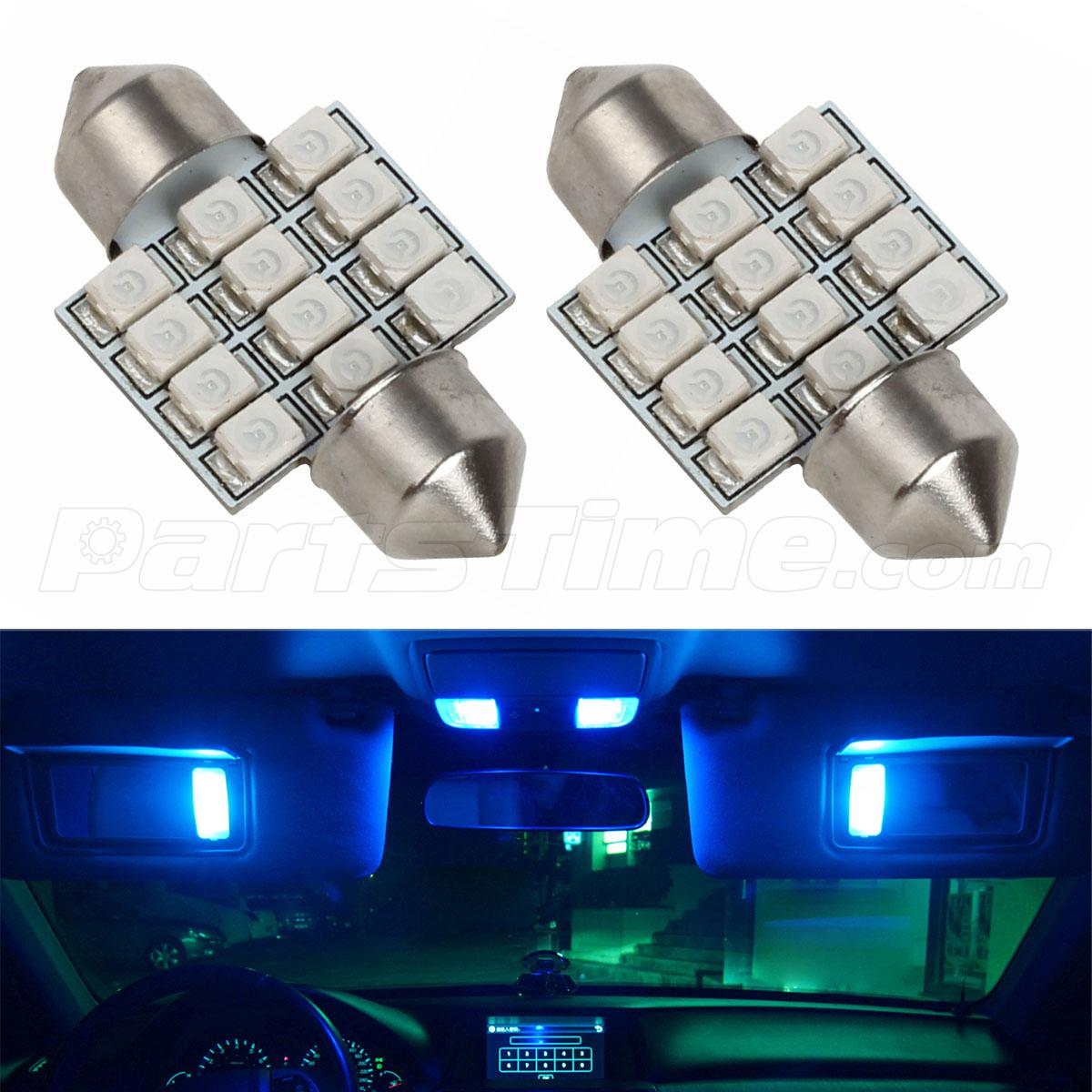 2x ultra blue 12 smd 31mm festoon led car interior dome map lights for toyota ebay. Black Bedroom Furniture Sets. Home Design Ideas