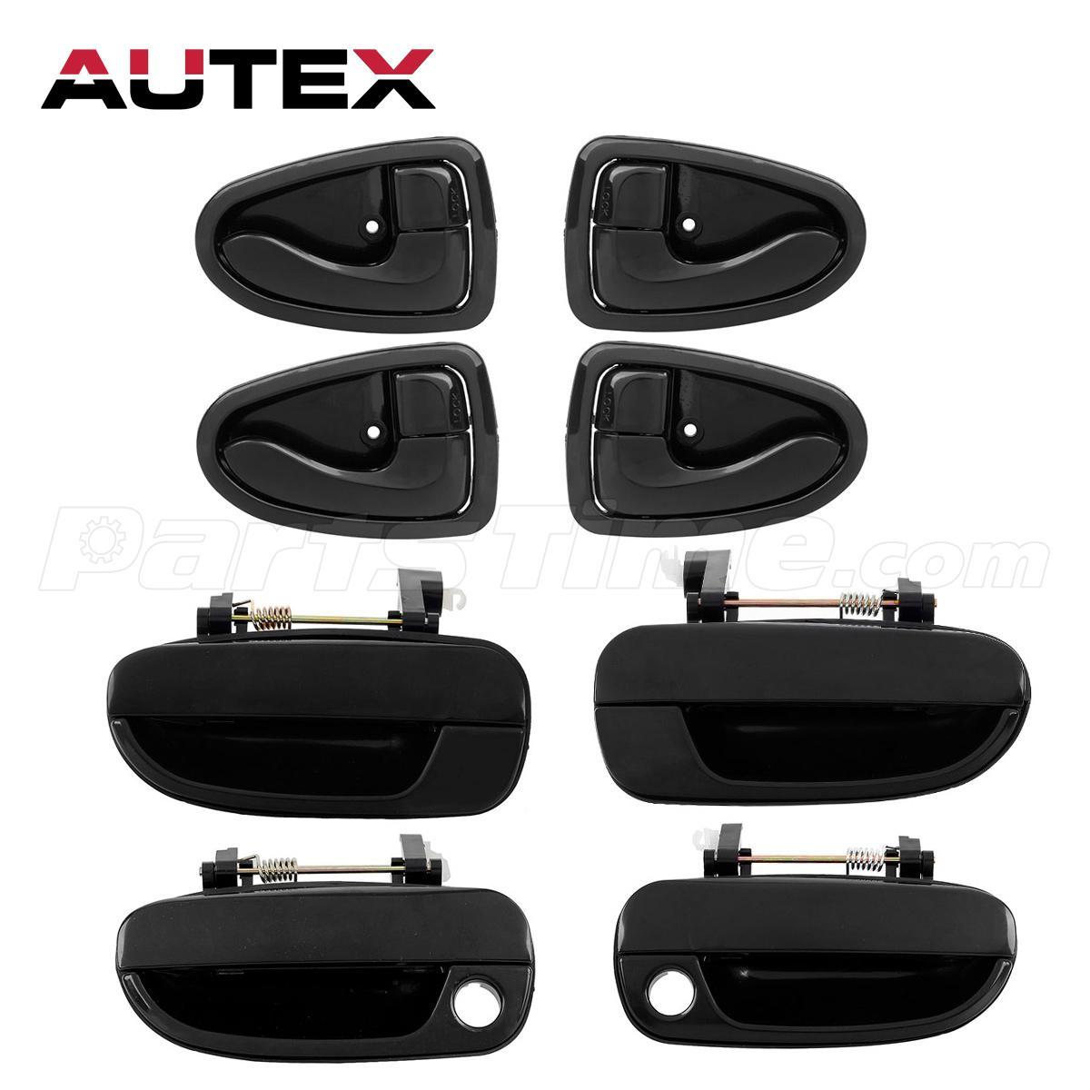Set of 8 black plastic car front rear door handles for 2000 2005 hyundai accent Hyundai accent exterior door handle